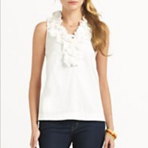 Kate Spade Lucille Sleeveless Top Ruffle White L